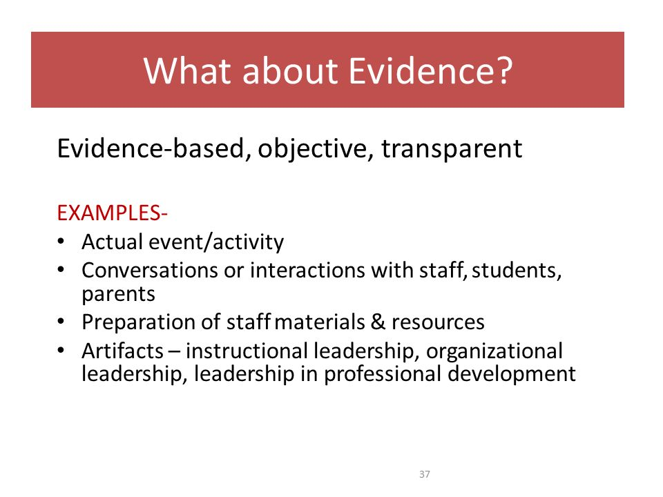 What about Evidence? Evidence-based, objective, transparent EXAMPLES- Actual event/activity Conversations or interactions with staff, students, parent