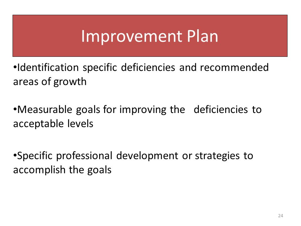 Improvement Plan Identification specific deficiencies and recommended areas of growth Measurable goals for improving the deficiencies to acceptable le