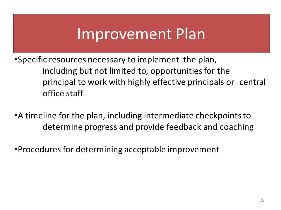 Improvement Plan Specific resources necessary to implement the plan, including but not limited to, opportunities for the principal to work with highly effective principals or central office staff A timeline for the plan, including intermediate checkpoints to determine progress and provide feedback and coaching Procedures for determining acceptable improvement 25