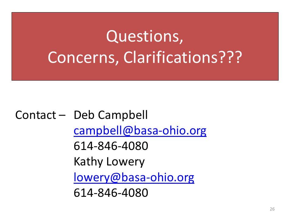 Questions, Concerns, Clarifications??.