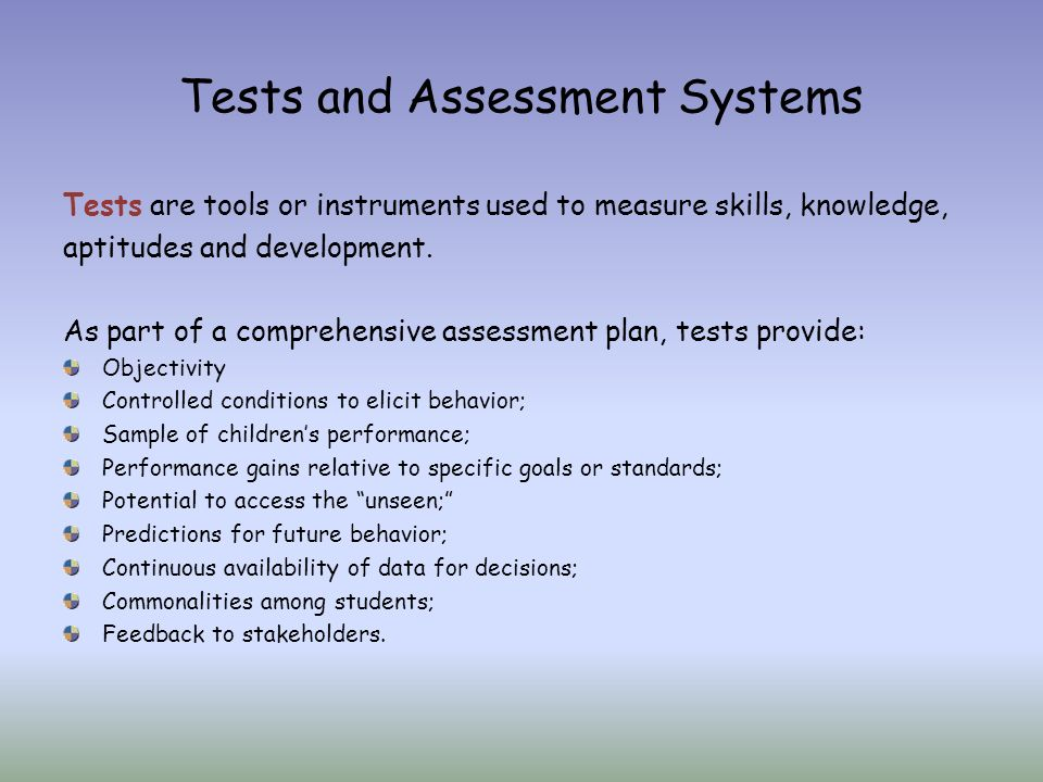 Module  Using Tests For Assessment Tests Are Important