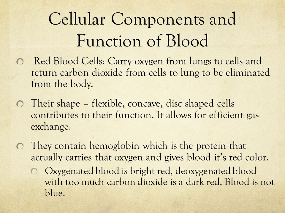 Red Blood Cells: Carry oxygen from lungs to cells and return carbon dioxide from cells to lung to be eliminated from the body.