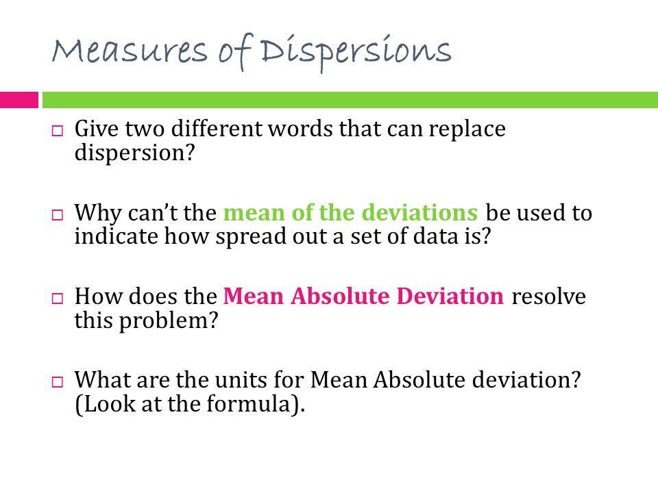 measure of dispersion