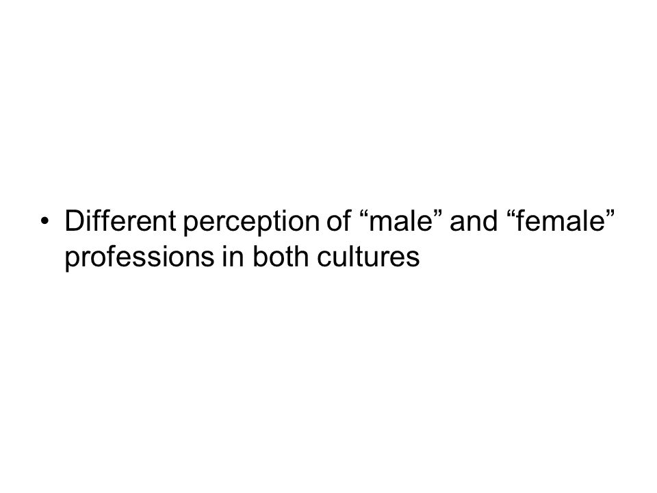 Different perception of male and female professions in both cultures