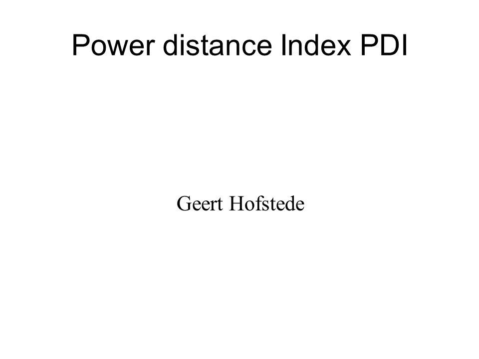 Power distance Index PDI Geert Hofstede