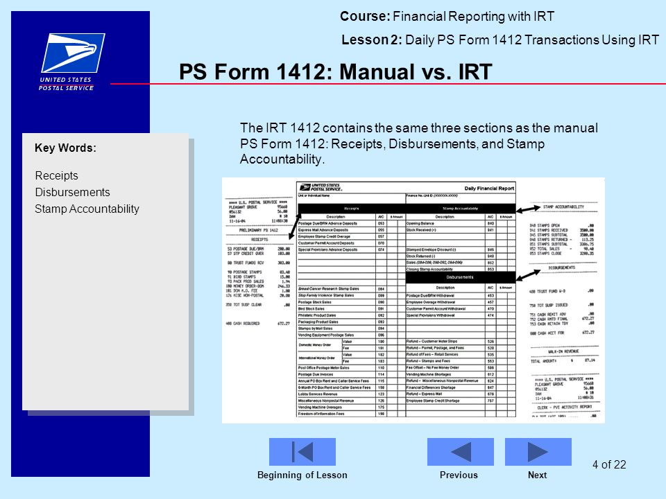 Course: Financial Reporting With IRT Lesson 2: Daily PS Form 1412  Transactions Using IRT  Daily Financial Report