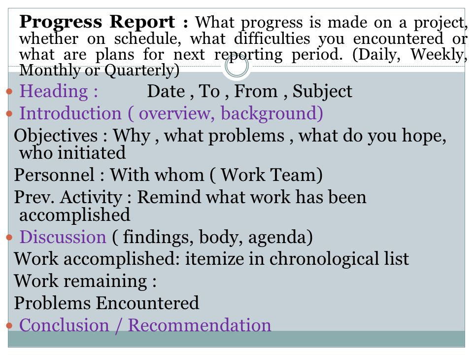 Types Of Reports Introductory Report Progress Reports Incident