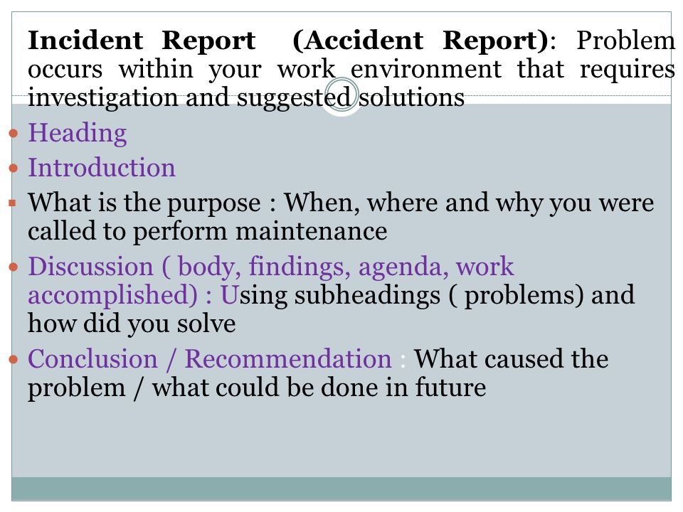 purpose of incident report - Goal.blockety.co