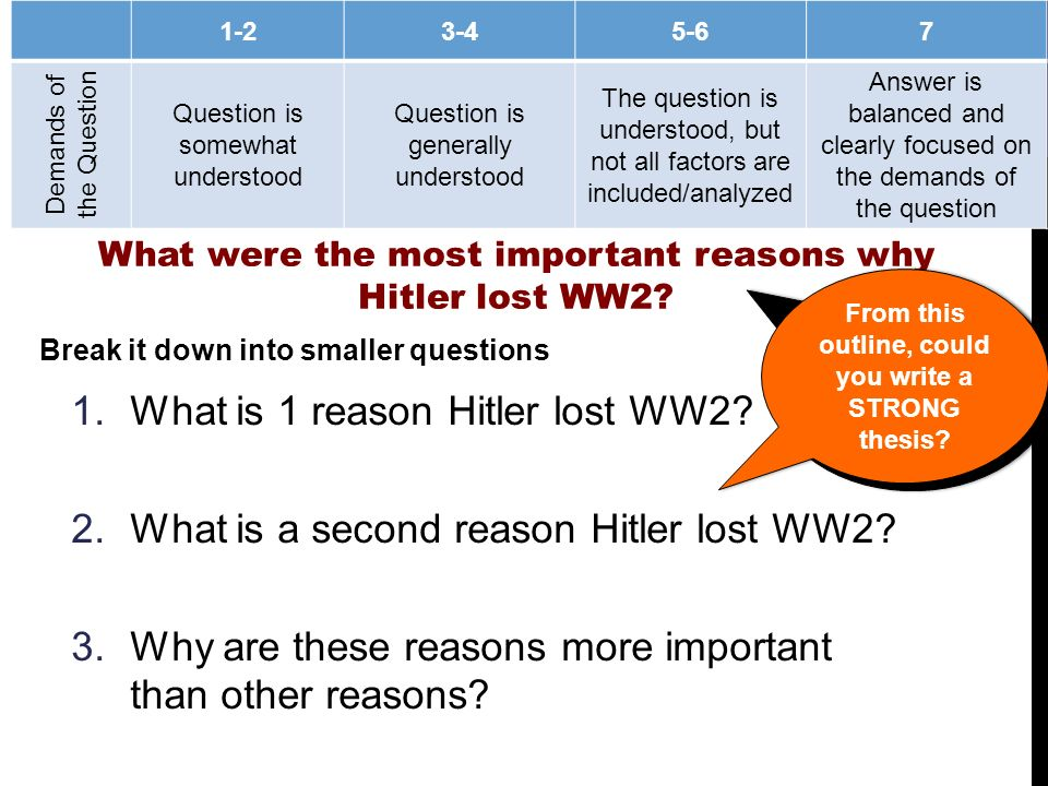 lesson a history essay writing breaking down the question  2 review