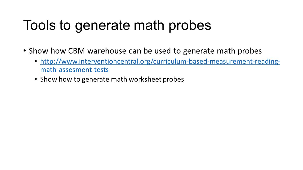 Curriculum Based Measurement Math Introduction to Math CBM Show – Intervention Central Math Worksheet Generator