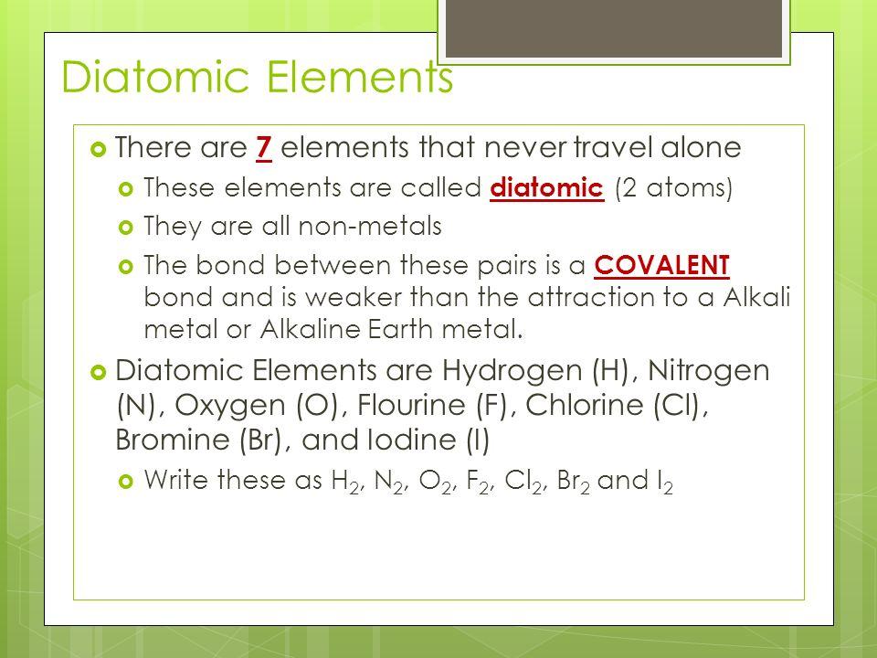 Periodic Table diatomic atoms in the periodic table : Atomic Theory  The Periodic Table is the method of organization ...
