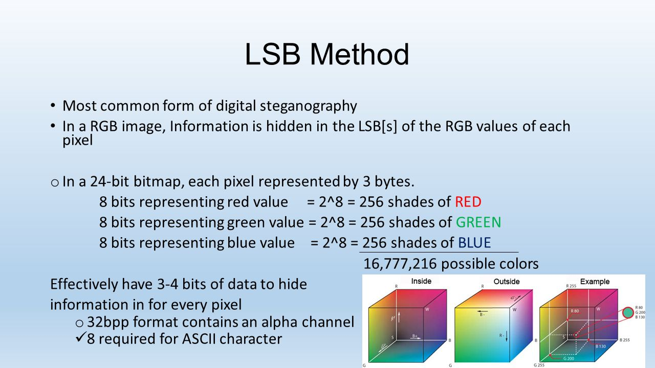 steganalysis lsb insertion method Digital steganalysis: review on recent • least significant bit insertion and their hybrids methods in steganalysis environment are collectively.