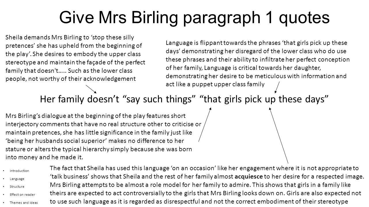 essay plan mr birling
