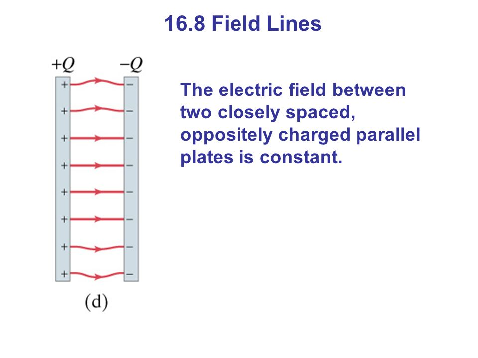 16.8 Field Lines The electric field between two closely spaced, oppositely charged parallel plates is constant.