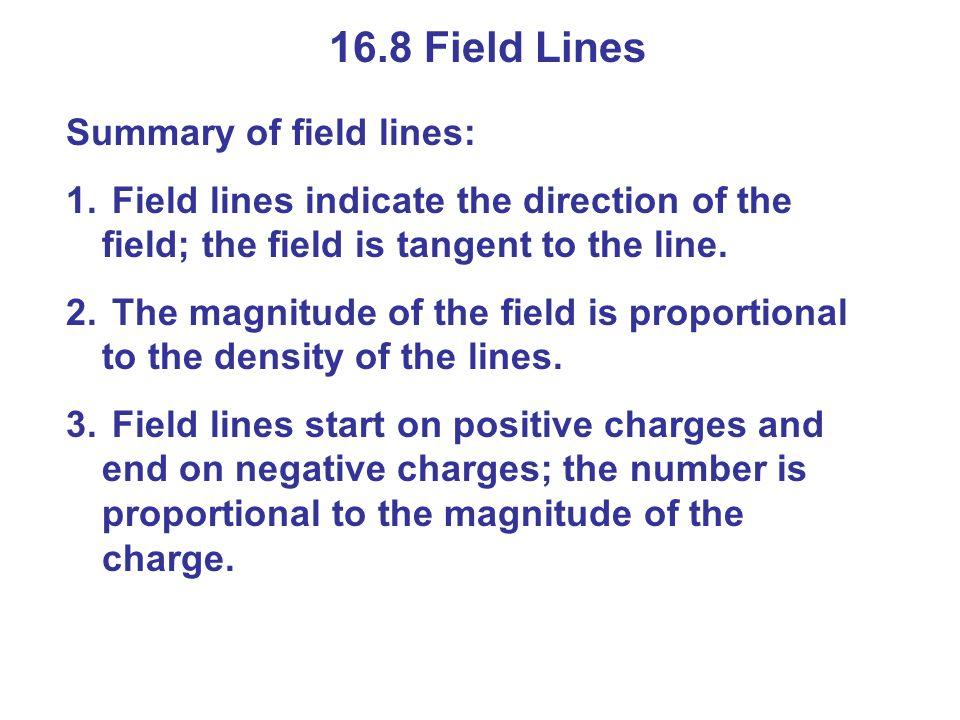 16.8 Field Lines Summary of field lines: 1.