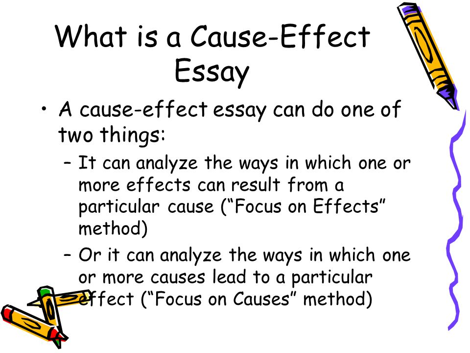 cause and effect essay help Review the basic concepts and essay structure for the cause and effect college composition essay get my new grammar books.