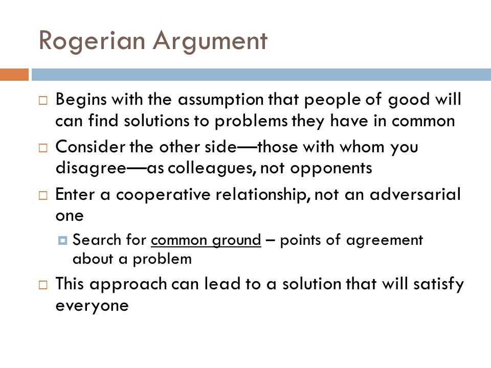 rogerian argument with two sides