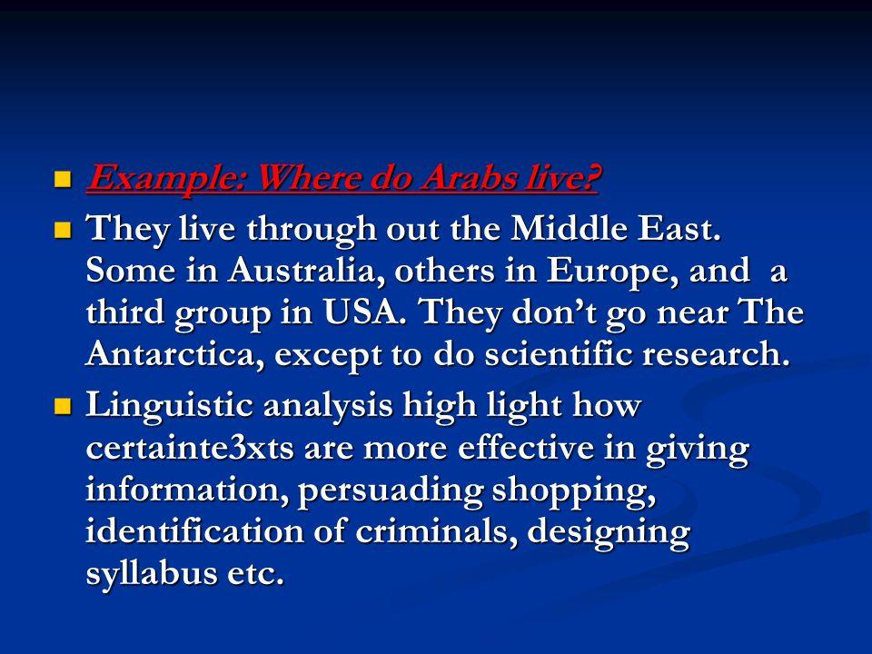 Example: Where do Arabs live. Example: Where do Arabs live.