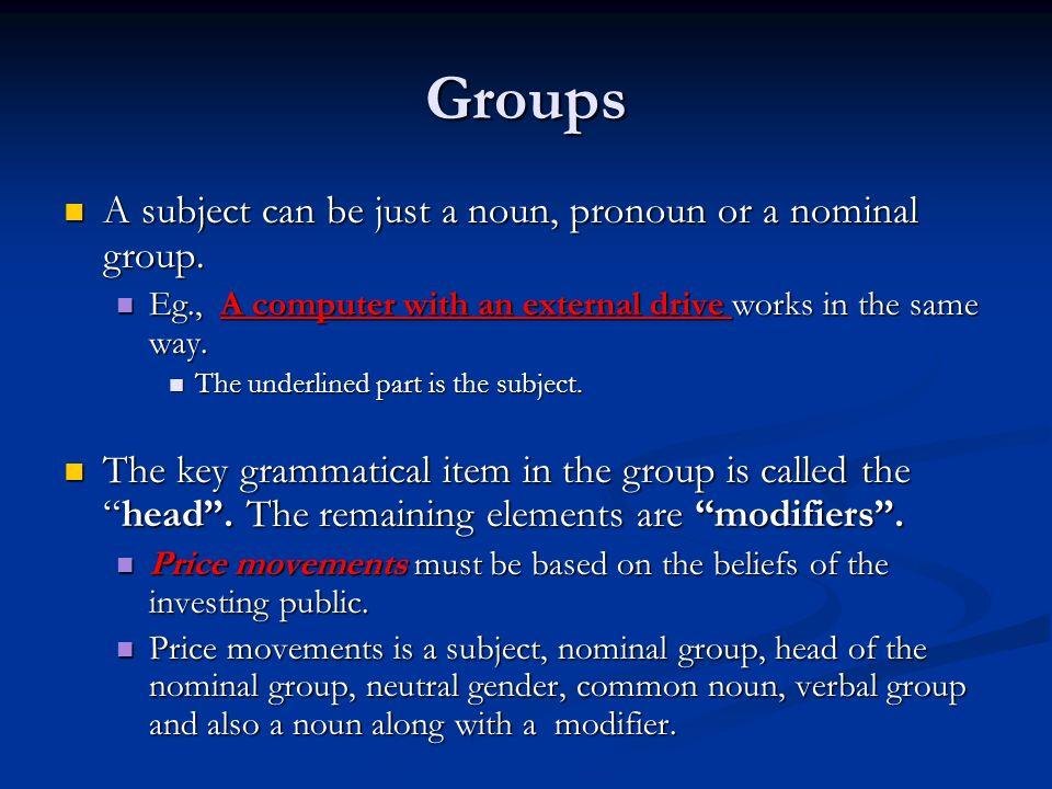 Groups A subject can be just a noun, pronoun or a nominal group.