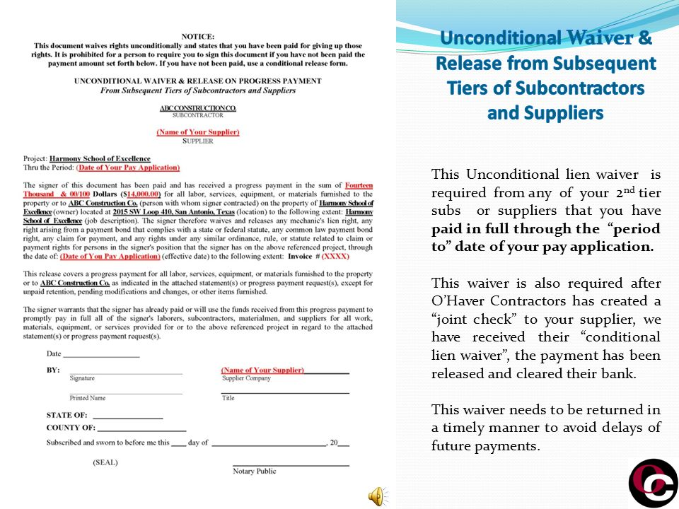 Subcontractors And Suppliers Procedures For Receipt Of Payment
