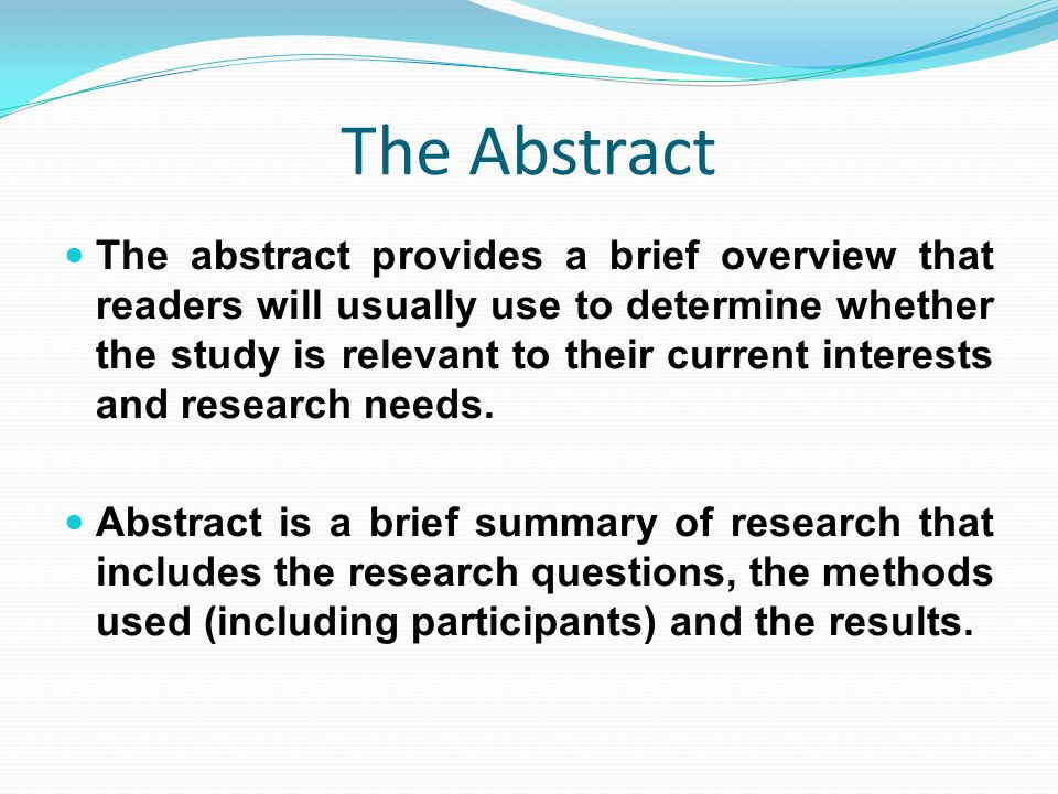 abstract for thesis proposal