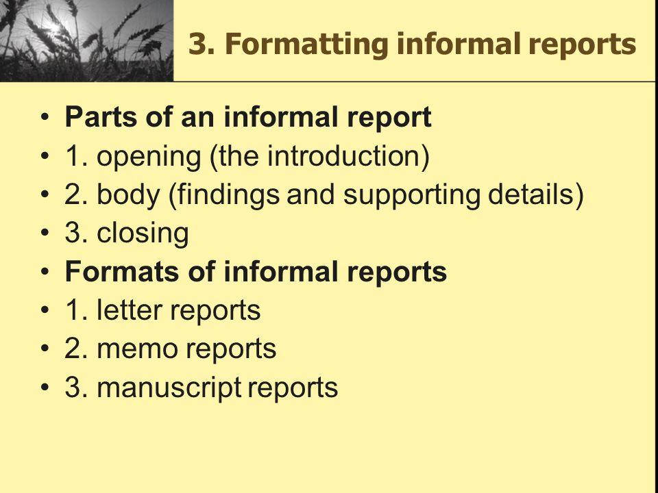 format for informal report
