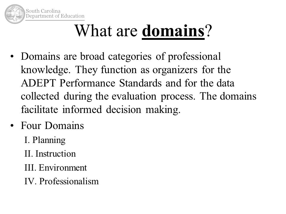 What are domains. Domains are broad categories of professional knowledge.