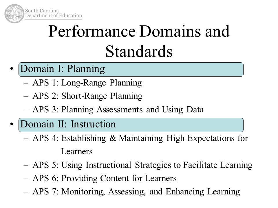 Performance Domains and Standards Domain I: Planning –APS 1: Long-Range Planning –APS 2: Short-Range Planning –APS 3: Planning Assessments and Using Data Domain II: Instruction –APS 4: Establishing & Maintaining High Expectations for Learners –APS 5: Using Instructional Strategies to Facilitate Learning –APS 6: Providing Content for Learners –APS 7: Monitoring, Assessing, and Enhancing Learning