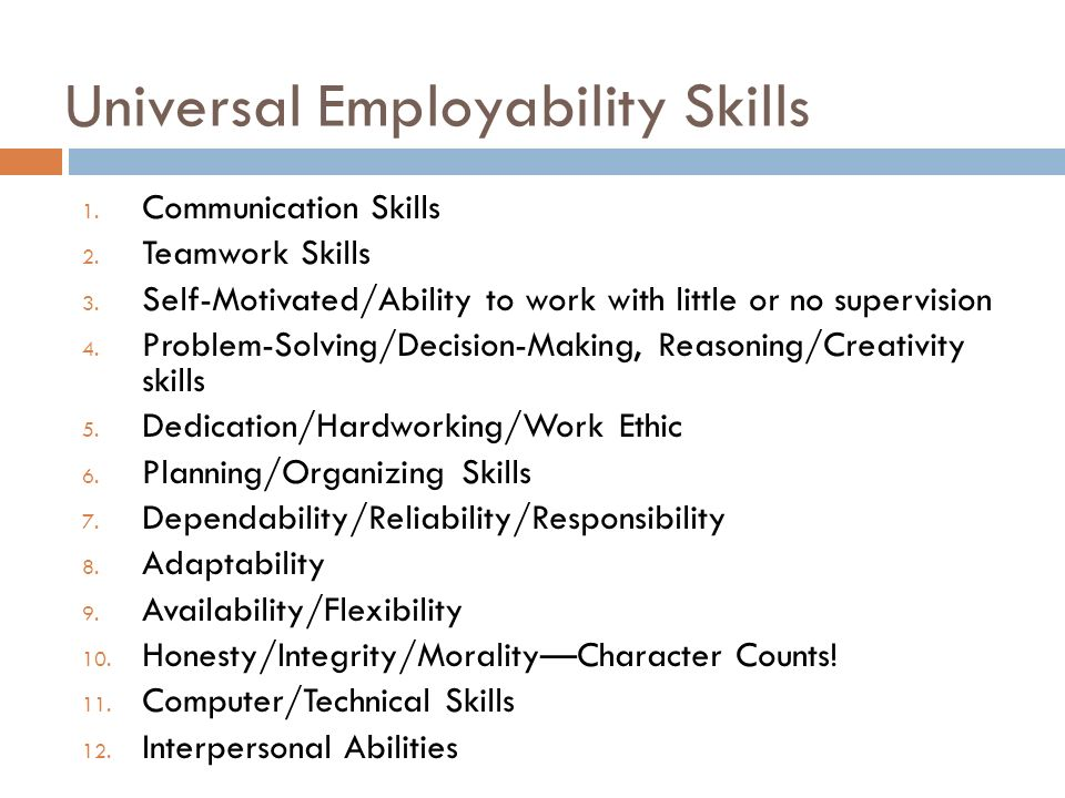 employablility and personal skills in the Learn about the key employability skills, beyond qualifications and experience, that employers are looking for identify and improve your employability skills.
