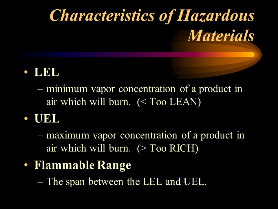 Characteristics of Hazardous Materials Boiling Point –Temp.
