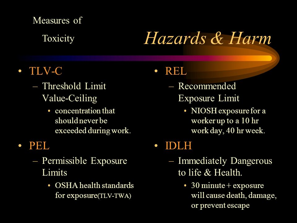 Hazards & Harm TLV-TWA –Threshold Limit Value-Time Weighted Average concentration for a normal 8 hour work day/40 hour week that most workers can be exposed to without adverse effects.