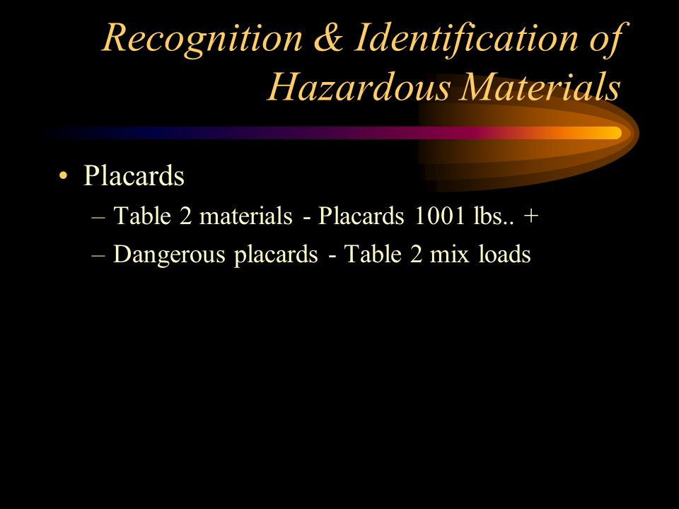 Recognition & Identification of Hazardous Materials Placards –Located on bulk packages & vehicles –Indicates primary hazard –Following commodities must be placarded in any amount Explosives A&BPoison Gas Dangerous when WetPoison (inhalation) Radioactive III