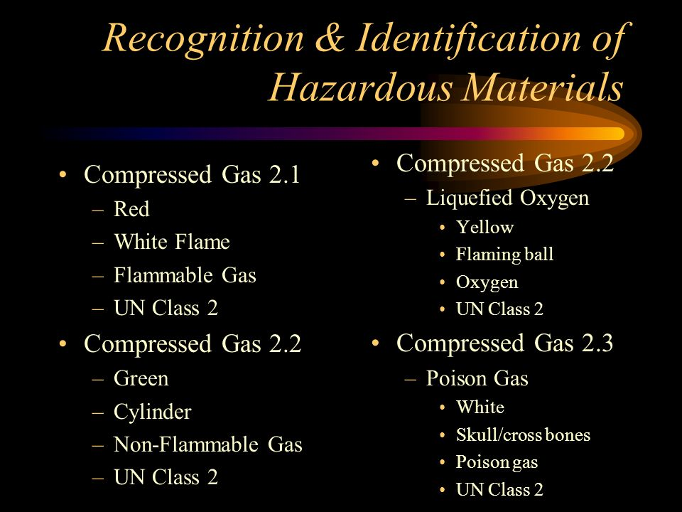 Recognition & Identification of Hazardous Materials Explosives-1.1, 1.2, 1.3 –Orange –Exploding bomb –Explosives –UN class 1 Explosives-1.4, 1.6 –Orange –UN Division # –Explosives –UN Class 1 Explosives-1.5 –Orange –UN Division # –Blasting Agents –UN Class 1