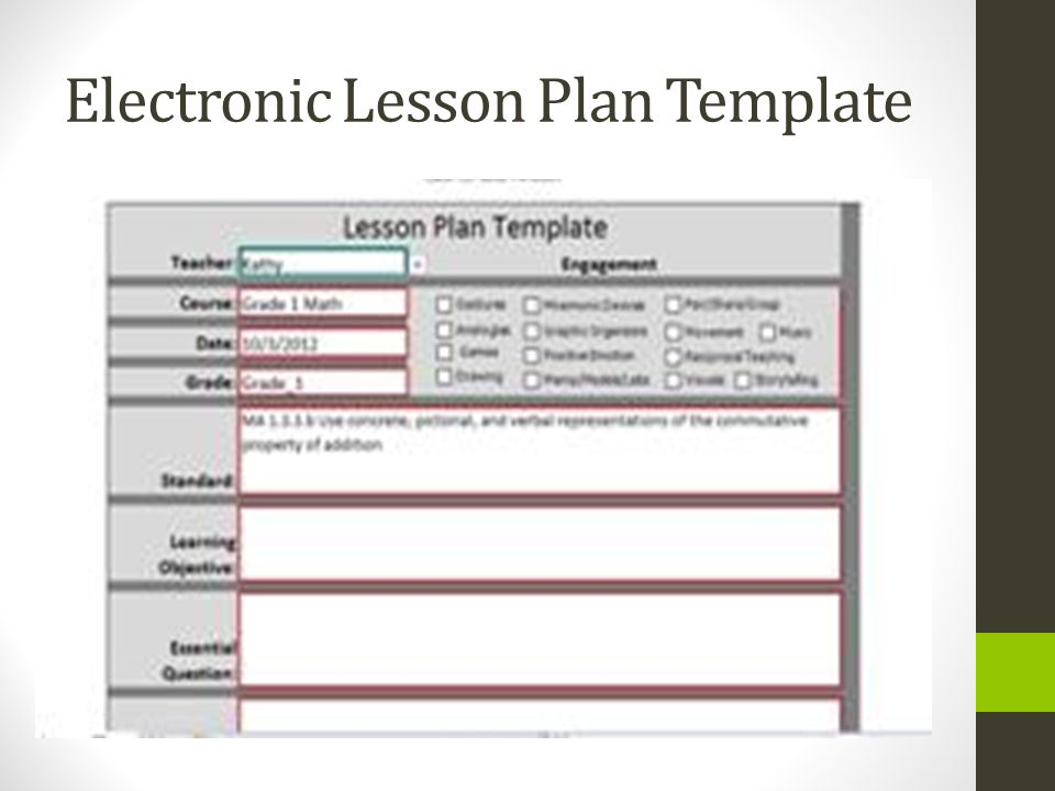 Outstanding Electronic Lesson Plan Template Sketch Professional