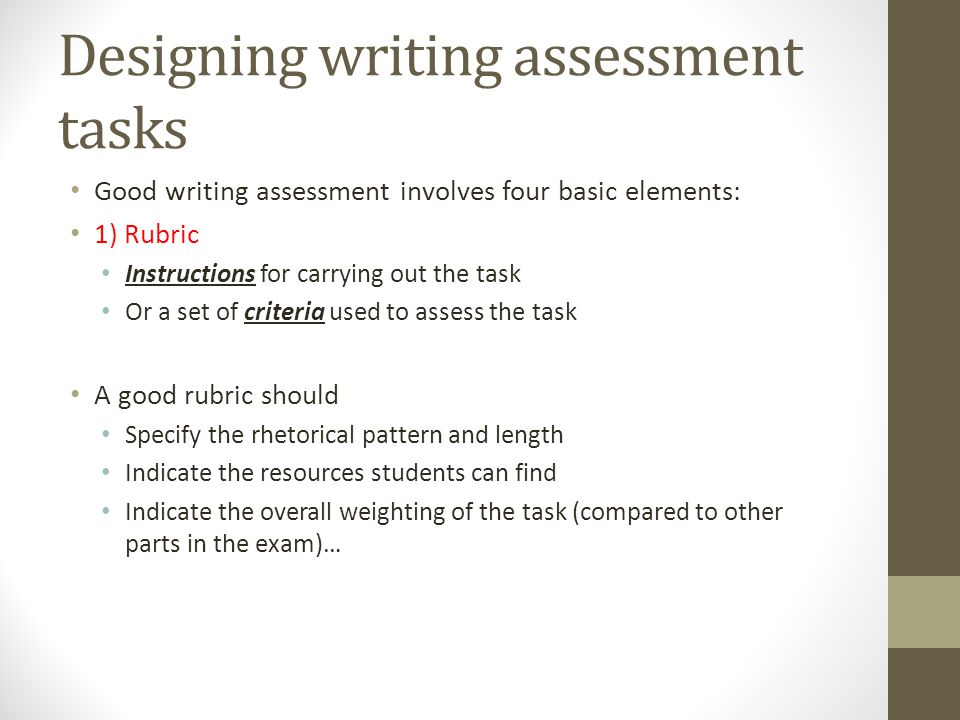 """writing assessment criteria involve Student self-assessment is """"the process by which the student gathers information brainstorming possible criteria for assessment  involve students in."""