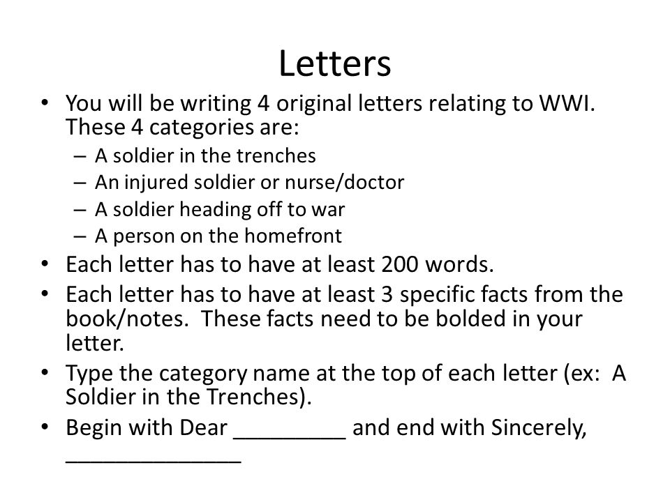 Letters From Wwi Assignment Adkins Advanced World History  Ppt