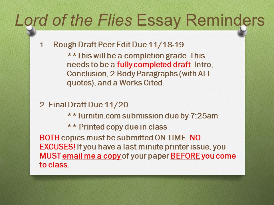 lord of the flies essay reminders rough draft peer edit due  1 lord of the flies essay