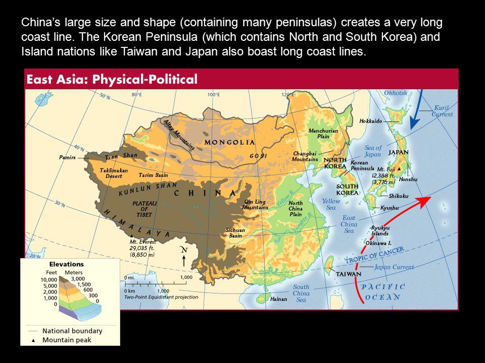 Chinas Large Size And Shape Containing Many Peninsulas Creates - Japan map large size