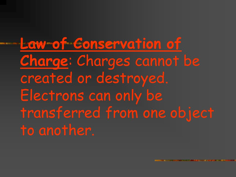 Law of Conservation of Charge: Charges cannot be created or destroyed.