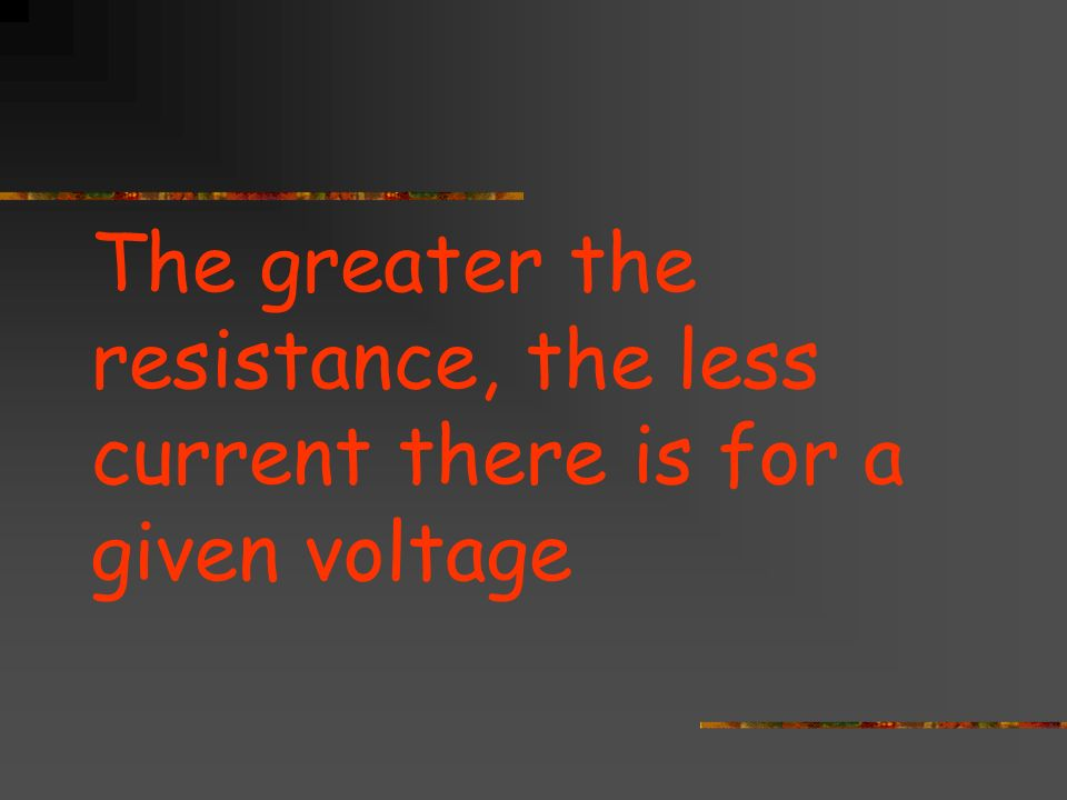 The greater the resistance, the less current there is for a given voltage