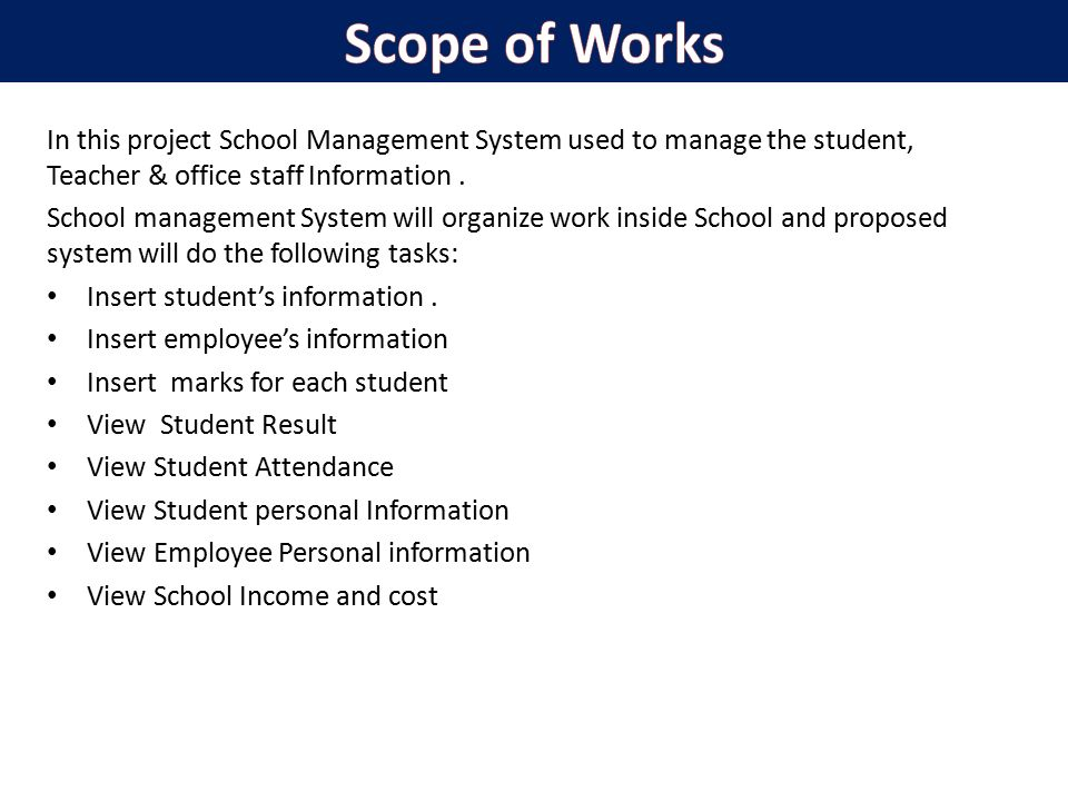 project proposal online school manage systemment World education encyclopedia vol 1 a-h (austriaconcept of generally accessible and optimal education).