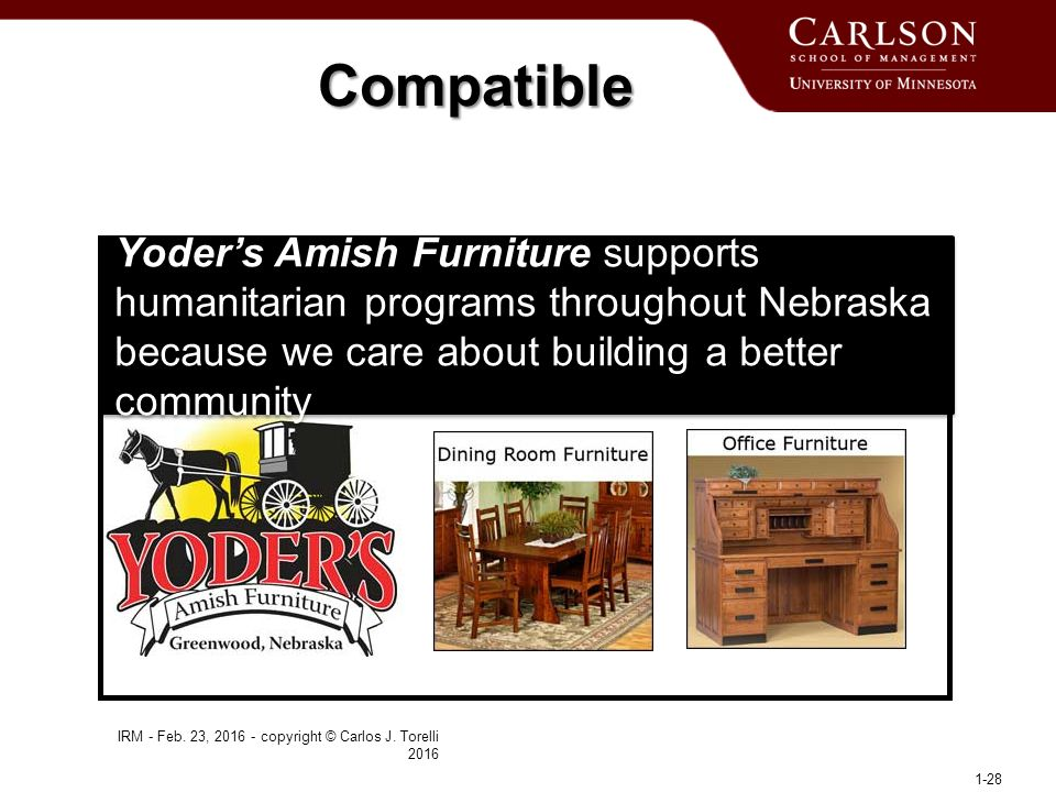 Yoder's Amish Furniture supports humanitarian programs throughout Nebraska because we care about building a better community IRM - Feb.