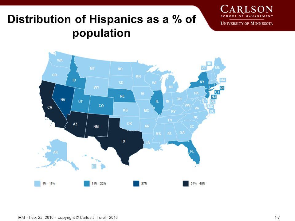 Distribution of Hispanics as a % of population IRM - Feb.