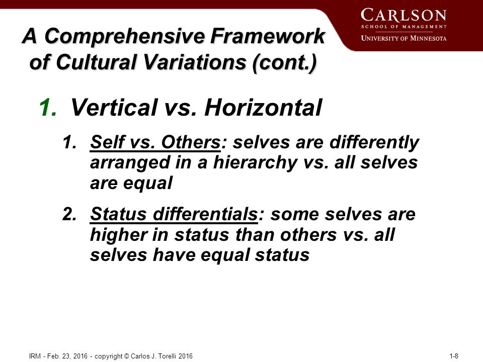 1.Vertical vs. Horizontal 1.Self vs. Others: selves are differently arranged in a hierarchy vs.
