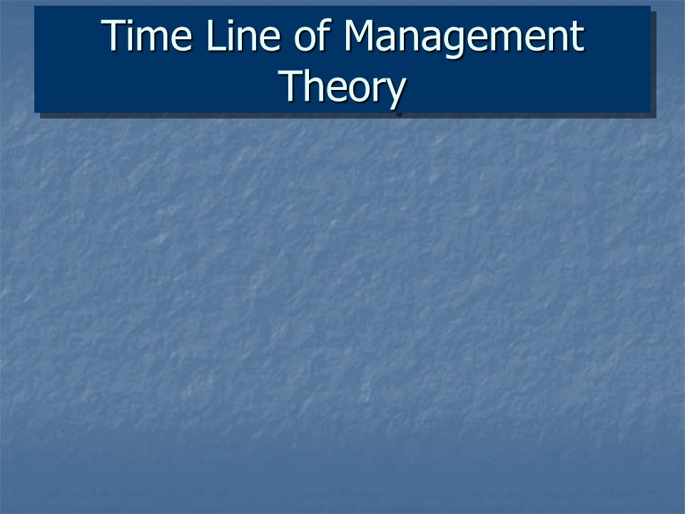 Time Line of Management Theory
