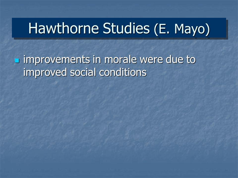Hawthorne Studies (E.