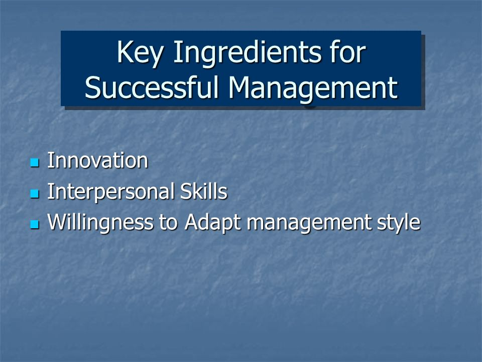 Key Ingredients for Successful Management Innovation Innovation Interpersonal Skills Interpersonal Skills Willingness to Adapt management style Willingness to Adapt management style