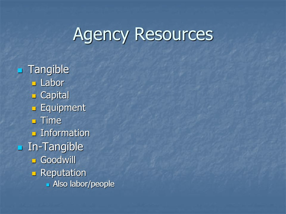 Agency Resources Tangible Tangible Labor Labor Capital Capital Equipment Equipment Time Time Information Information In-Tangible In-Tangible Goodwill Goodwill Reputation Reputation Also labor/people Also labor/people