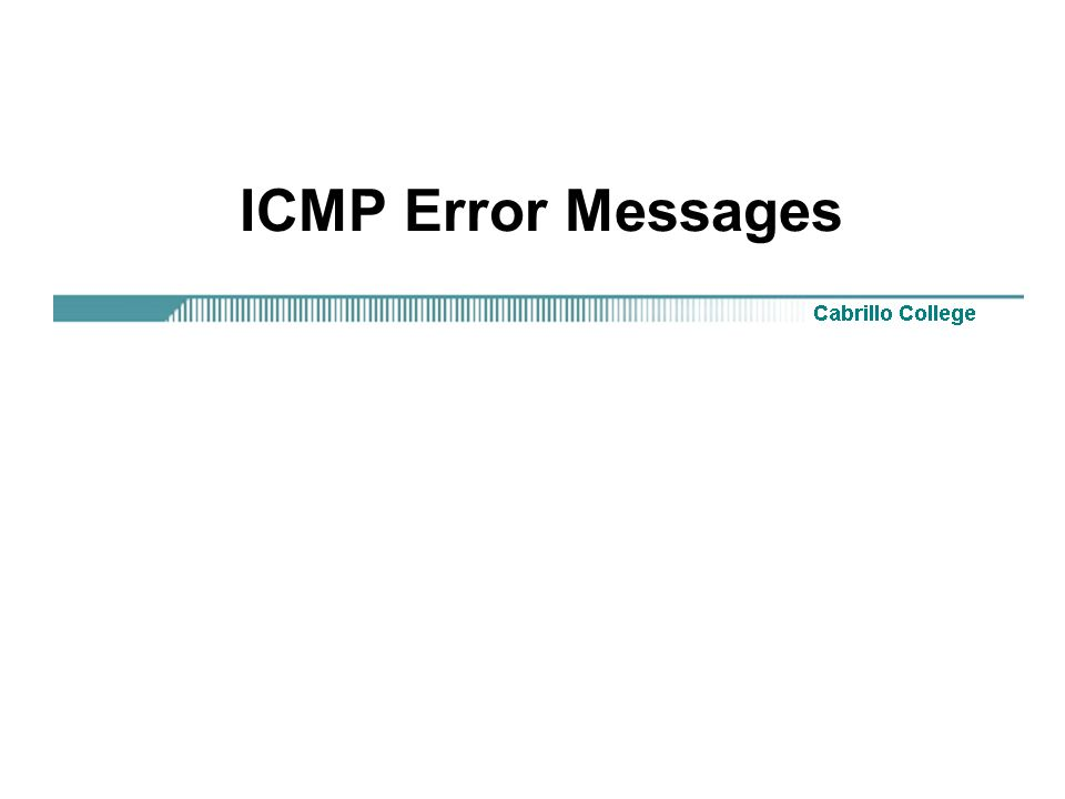 ICMP Error Messages