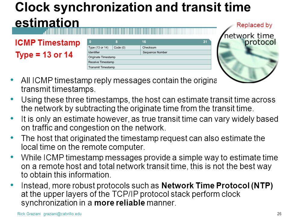 Rick Graziani graziani@cabrillo.edu26 Clock synchronization and transit time estimation All ICMP timestamp reply messages contain the originate, receive and transmit timestamps.